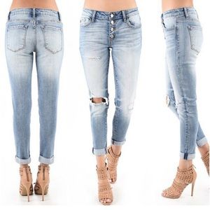 KanCan Button Fly Distressed Boyfriend Jeans